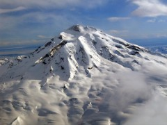 Redoubt Volcano, Alaska, currently at code Orange.  Photo taken February 26, 2009, courtesy of AVO/USGS, photo by Jennifer Adleman.