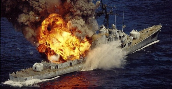 USS Mullinnix as it's getting sunk as part of naval tests in August 1992.  Photo courtesy of USSMullinnix.org.